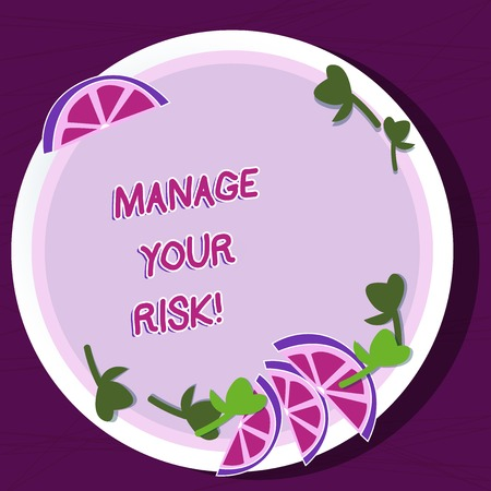 Writing note showing Manage Your Risk. Business concept for practice of identifying potential risks in advance Cutouts of Sliced Lime Wedge and Herb Leaves on Color Plate Stock fotó