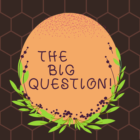 Text sign showing The Big Question. Business photo text great matter that requiring resolution or discussion Blank Color Oval Shape with Leaves and Buds as Border for Invitation Stock Photo