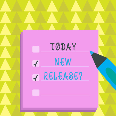 Writing note showing New Release Question. Business concept for asking about recent product or service newly unleashed To Do Check List Planner Sheets with Tick Box and Marker Pen