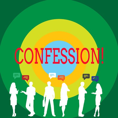 Conceptual hand writing showing Confession. Concept meaning Admission Revelation Disclosure Divulgence Utterance Assertion Figures of People Talking with Gestures and Text Balloon