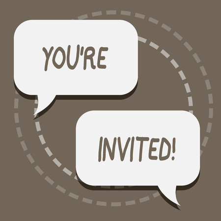 Writing note showing You Re Invited. Business concept for make a polite friendly request to someone go somewhere Blank White Speech Balloons Conversation on Pastel Backdrop