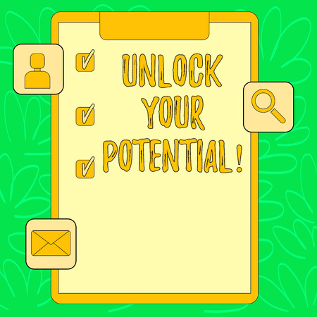Conceptual hand writing showing Unlock Your Potential. Concept meaning Reveal talent Develop abilities Show demonstratingal skills Clipboard with Tick Box and Apps for Assessment and Reminder Banco de Imagens