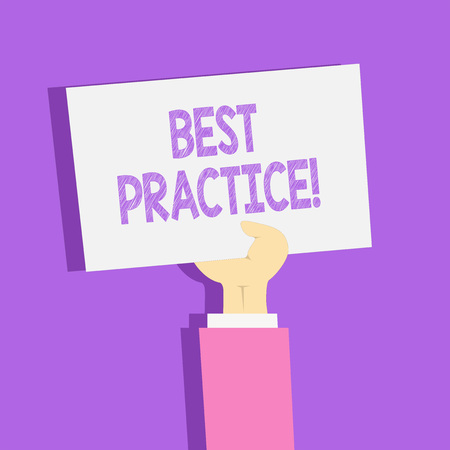 Text sign showing Best Practice. Business photo showcasing commercial procedures that are accepted prescribed being correct Clipart of Hand Holding Up Blank Sheet of White Paper on Pastel Backdrop