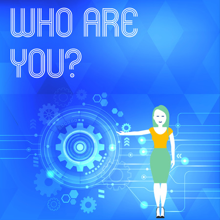 Conceptual hand writing showing Who Are You Question. Concept meaning asking about its identity or demonstratingal information Woman Presenting the SEO Process with Cog Wheel Gear inside