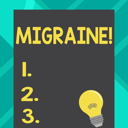 Text sign showing Migraine. Business photo text Recurrent headache in one side of head nausea and disturbed vision Incandescent Light Bulb with Filament Inside Resting on Blank Color Paper