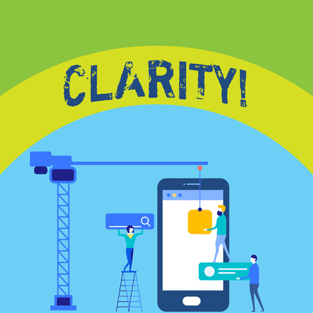 Writing note showing Clarity. Business concept for Certainty Precision Purity Comprehensibility Transparency Accuracy Staff Working Together for Common Target Goal with SEO Process Icons Stock Photo