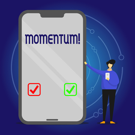 Writing note showing Momentum. Business concept for Quantity motion in moving body Product of mass and velocity Man Presenting Huge Smartphone while Holding Another Mobile