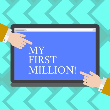 Text sign showing My First Million. Business photo showcasing list of things that help you gather your first big cash Hu analysis Hands from Both Sides Pointing on a Blank Color Tablet Screen