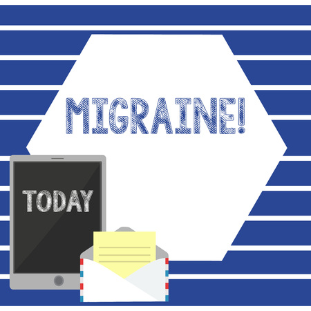 Text sign showing Migraine. Business photo showcasing Recurrent headache in one side of head nausea and disturbed vision Open Envelope with Paper and Blank Tablet Screen on Colorful Blank Space