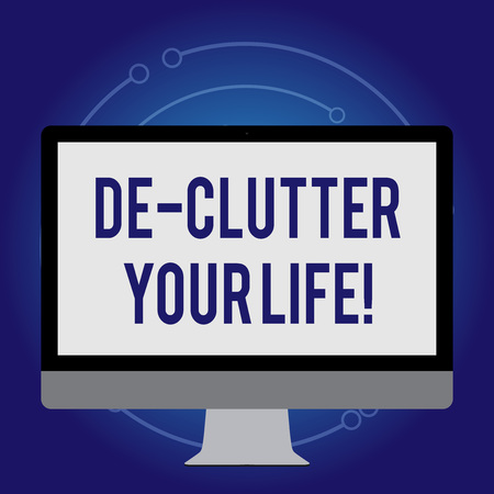 Conceptual hand writing showing De Clutter Your Life. Concept meaning remove unnecessary items untidy or overcrowded places White Computer Monitor WideScreen on a Stand for Technology