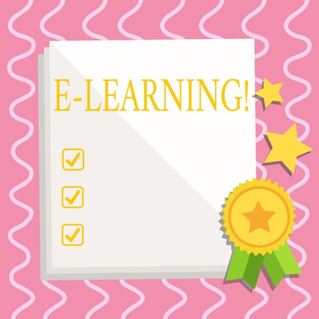 Text sign showing E Learning. Business photo text Education by the internet Distant Schooling Web Courses Studies White Blank Sheet of Parchment Paper Stationery with Ribbon Seal Stamp Label Zdjęcie Seryjne