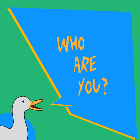 Handwriting text writing Who Are You Question. Conceptual photo asking about someone identity or demonstratingal information photo of Duck Speaking with Uneven Shape Blank Blue Speech Balloon Banque d'images