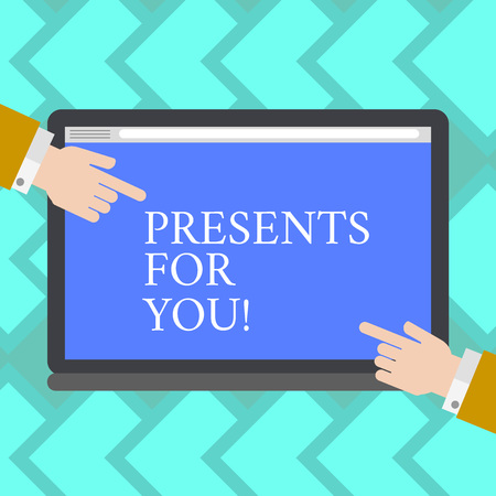 Text sign showing Presents For You. Business photo showcasing give or award formally or ceremonially out of love Hu analysis Hands from Both Sides Pointing on a Blank Color Tablet Screen
