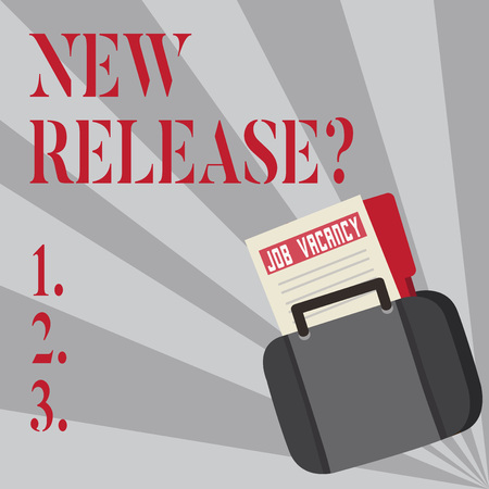 Writing note showing New Release Question. Business concept for asking about recent product or service newly unleashed Announcement File for Employment Opportunity with Briefcase