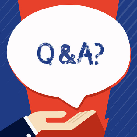 Conceptual hand writing showing Q And A Question. Concept meaning in which demonstrating asks questions and other answer them Palm Up in Supine position Donation Hand Sign Speech Bubble
