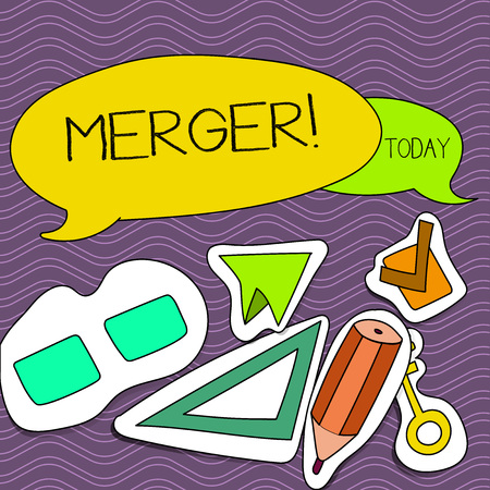 Word writing text Merger. Business photo showcasing Combination of two things or companies Fusion Coalition Unification Two Blank Colorful Speech Balloon and Different Labels Sticker Style Icons