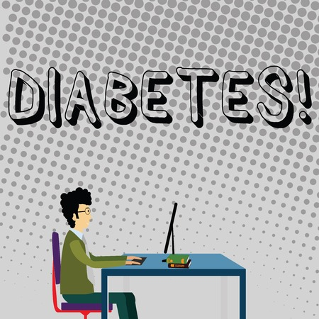 Handwriting text Diabetes. Conceptual photo Chronic disease associated to high levels of sugar glucose in blood Businessman Sitting Straight on Chair Working on Computer and Books on Table Imagens