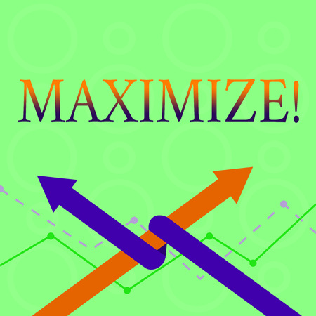 Conceptual hand writing showing Maximize. Concept meaning Increase to the greatest possible amount or degree Make larger Two Arrows One Intertwined to Other Team Up or Competition