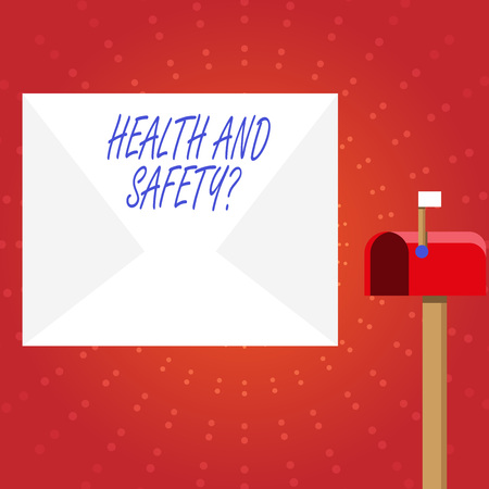 Writing note showing Health And Safety Question. Business concept for regulations and procedures to prevent accident or injury White Envelope and Red Mailbox with Small Flag Up Signalling Zdjęcie Seryjne