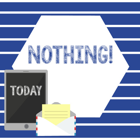 Text sign showing Nothing. Business photo showcasing Not anything No single thing or value Absence of progress Blank Open Envelope with Paper and Blank Tablet Screen on Colorful Blank Space