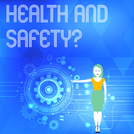 Conceptual hand writing showing Health And Safety Question. Concept meaning regulations and procedures to prevent accident or injury Woman Presenting the SEO Process with Cog Wheel Gear inside