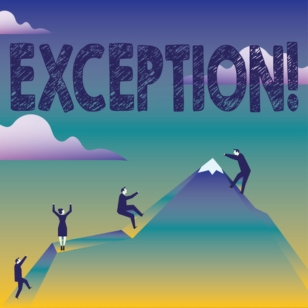 Text sign showing Exception. Business photo text Person or thing that is excluded from general statement Different Business People Climbing Color Mountain by Themselves Holding Invisible Rope Imagens