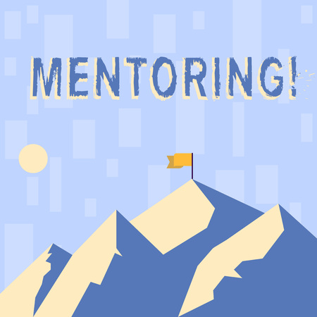 Writing note showing Mentoring. Business concept for To give advice or support to a younger less experienced demonstrating Mountains with Shadow Indicating Time of Day and Flag Banner