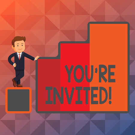 Text sign showing You Re Invited. Business photo showcasing make a polite friendly request to someone go somewhere Happy Businessman Presenting Growth and Success in Rising Bar Graph Columns Stock Photo