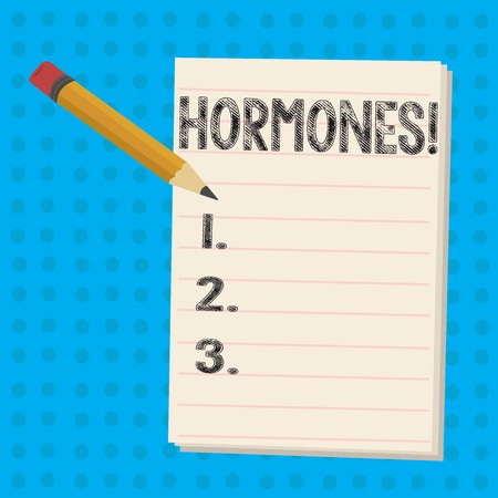 Text sign showing Hormones. Business photo showcasing Regulatory substance produced in an organism to stimulate cells Pencil with Eraser and Blank White Pad on Two Toned Polka Dot Background