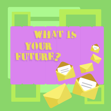 Conceptual hand writing showing What Is Your Futurequestion. Concept meaning Where do you see yourself in the next years Closed and Open Envelopes with Letter on Color Stationery