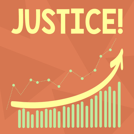 Handwriting text writing Justice. Conceptual photo Quality of being just impartial or fair Administration of law rules Combination of Colorful Column and Line Graphic Chart with Arrow Going Up Stock Photo