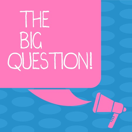 Word writing text The Big Question. Business photo showcasing great matter that requiring resolution or discussion Color Silhouette of Blank Square Speech Bubble and Megaphone photo