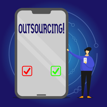 Writing note showing Outsourcing. Business concept for Obtain goods or service by contract from an outside supplier Man Presenting Huge Smartphone while Holding Another Mobile Banque d'images