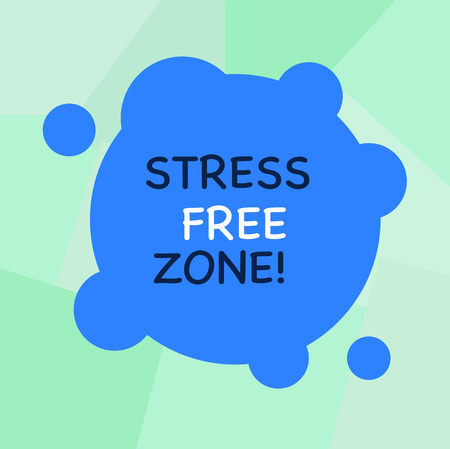 Conceptual hand writing showing Stress Free Zone. Concept meaning space students can learn and regularly practice evidence Blank Deformed Color Round Shape with Small Circles