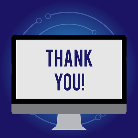 Conceptual hand writing showing Thank You. Concept meaning polite expression used when acknowledging gift service compliment White Computer Monitor WideScreen on a Stand for Technology