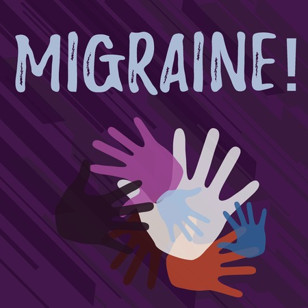 Handwriting text Migraine. Conceptual photo Recurrent headache in one side of head nausea and disturbed vision Color Hand Marks of Different Sizes Overlapping for Teamwork and Creativity Foto de archivo