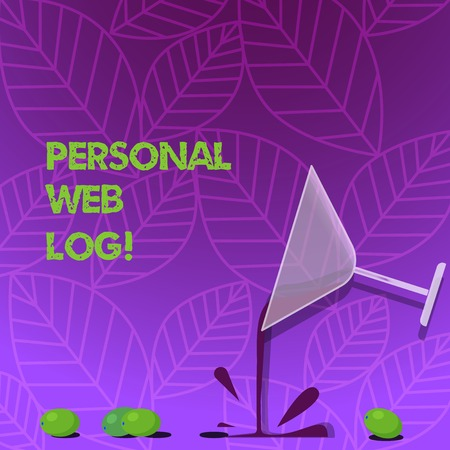 Text sign showing Personal Web Log. Business photo text website that contains diary of information or opinion Cocktail Wine Glass Pouring Liquid with Splash Grapes and Shadow photo