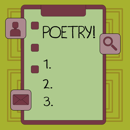Conceptual hand writing showing Poetry. Concept meaning Literary work Expression of feelings ideas with rhythm Poems writing Clipboard with Tick Box and Apps for Assessment and Reminder Banco de Imagens