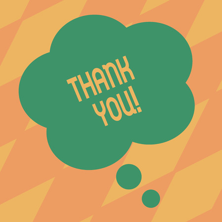 Text sign showing Thank You. Business photo showcasing polite expression used when acknowledging gift service compliment Blank Color Floral Shape Thought Speech Bubble photo for Presentation Ads Stock Photo
