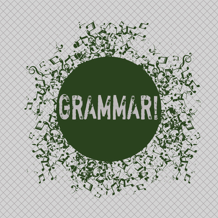 Writing note showing Grammar. Business concept for System and Structure of a Language Writing Rules Disarrayed Jumbled Musical Notes Icon with Colorful Circle
