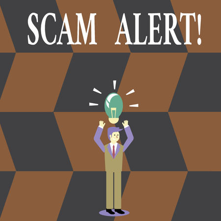 Writing note showing Scam Alert. Business concept for fraudulently obtain money from victim by persuading him Businessman Raising Arms Upward with Lighted Bulb icon above