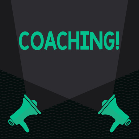 Conceptual hand writing showing Coaching. Concept meaning Prepare Enlightened Cultivate Sharpening Encourage Strenghten Spotlight Crisscrossing Upward from Megaphones on the Floor