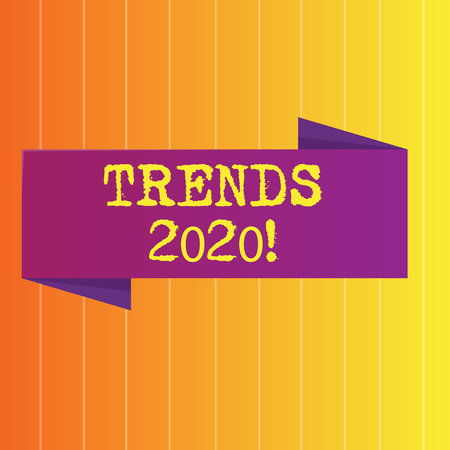 Handwriting text Trends 2020. Conceptual photo general direction in which something is developing or changing Blank Folded Color Banner photo on Vertically Striped Two Toned Backdrop