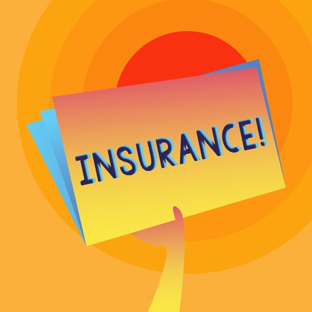 Word writing text Insurance. Business photo showcasing Policy for financial protection or reimbursement against losses Hand Holding and Raising Blank Space Colorful File Folder with Sheet Inside