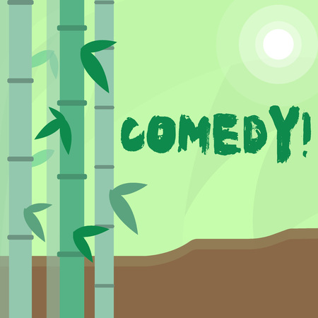 Conceptual hand writing showing Comedy. Concept meaning Fun Humor Satire Sitcom Hilarity Joking Entertainment Laughing Colorful Set of Leafy Bamboo and Moon or Sun with Round Beam