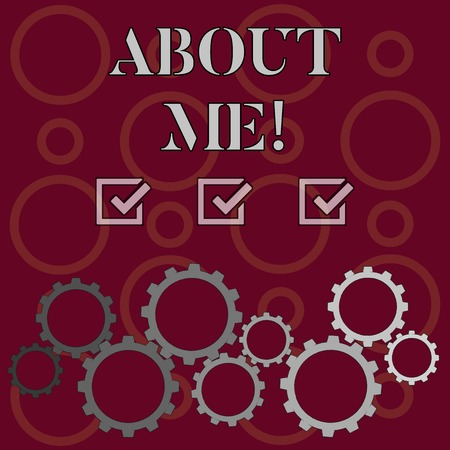 Word writing text About Me. Business photo showcasing telling someone list of your good and bad properties Colorful Cog Wheel Gear Engaging, Interlocking and Tesselating Flat Style Banque d'images - 119025978