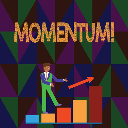 Conceptual hand writing showing Momentum. Concept meaning Quantity motion in moving body Product of mass and velocity Smiling Businessman Climbing Bar Chart Following an Arrow Up Stock Photo