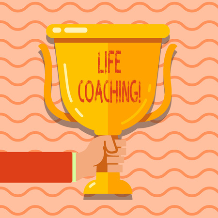 Conceptual hand writing showing Life Coaching. Concept meaning demonstrating employed to help showing attain their goals in career Hand Holding Championship Winners Cup Trophy with Reflection Stockfoto