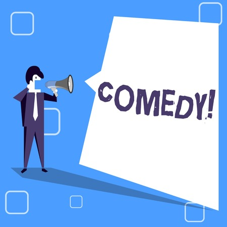 Handwriting text writing Comedy. Conceptual photo Fun Humor Satire Sitcom Hilarity Joking Entertainment Laughing Businessman Shouting on Megaphone and Blank White Uneven Shape Speech Bubble