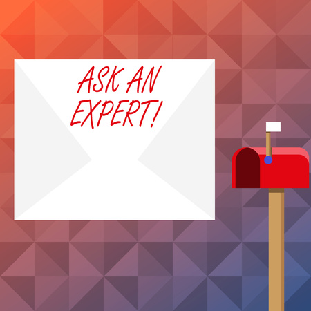 Text sign showing Ask An Expert. Business photo text confirmation that have read understand and agree with guidelines Blank Big White Envelope and Open Red Mailbox with Small Flag Up Signalling 스톡 콘텐츠